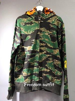 [FDOF] BAPE TIGER CAMO TIGER全拉鍊連帽 綠迷彩 虎紋帽夾  日本公司貨