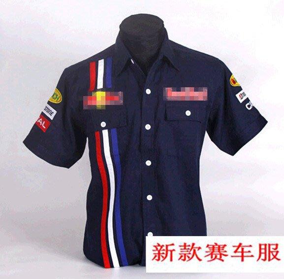 【運動吧】 F1賽車服 裝工作服 汽車汽修美容短袖襯衫工作服C057 oranre/black