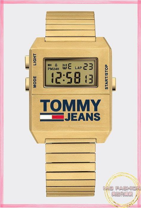 ㅑGrace 美國代購ㅕ正品 |Tommy Jeans| 金色不鏽鋼寬版男女適用復古風電子錶