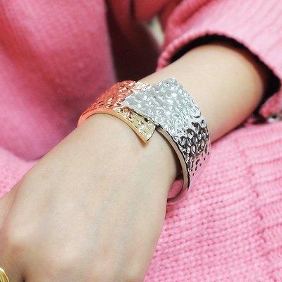 韓國飾品館&歐美外貿粗面金屬時尚手鐲 夸張合金打開手鐲手環飾品配飾