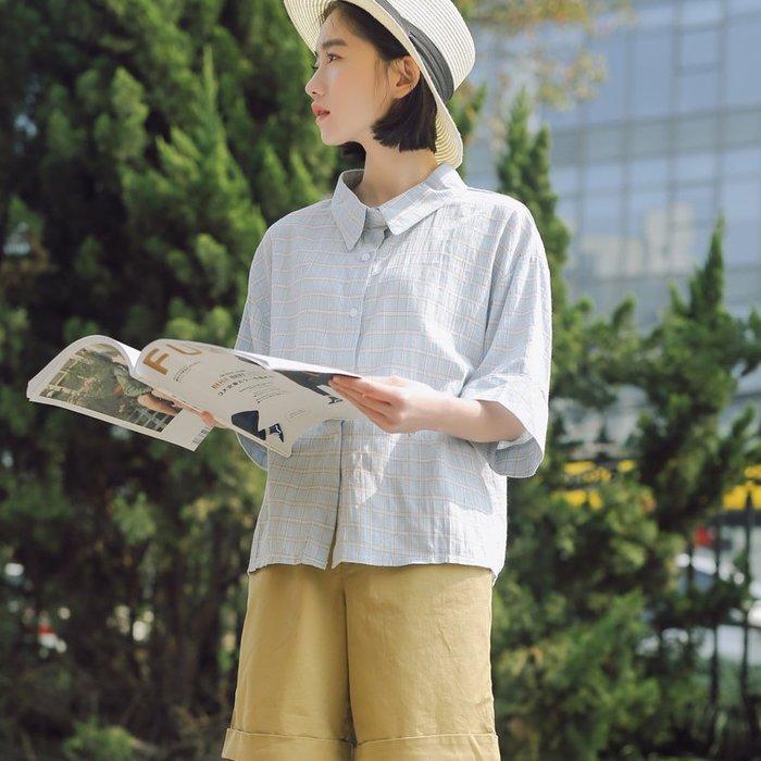 SeyeS 日系雜誌自然風古著格紋五分袖清新襯衫