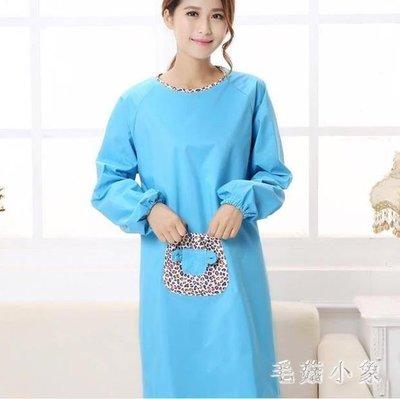 ZIHOPE 韓版時尚圍裙長袖女廚房家用可愛防水防油工作服大人罩衣ZI812