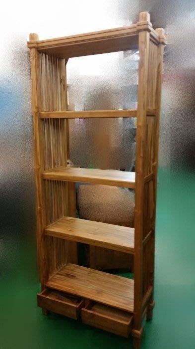 全新庫存家具賣場  庫存原木 柚木條子四層二抽展示架 書架* 雜誌架 藝品架 展示架 高低櫃