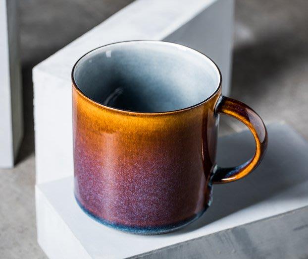 赤焰陶瓷馬克杯  水杯  馬克杯  杯子  陶瓷馬克杯  咖啡杯 咖啡色  復古陶瓷杯子【小雜貨】