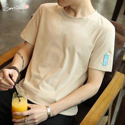 【Y168】SMILE-時尚夏風.刺繡圖樣圓領短袖上衣