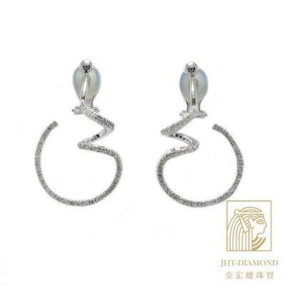 【JHT金宏總珠寶/GIA鑽石專賣】0.99克拉天然鑽石耳環/材質:18K(JB38-A11)