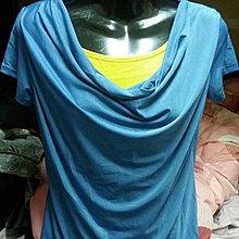 全新藍色配黃色假二件式短袖上衣