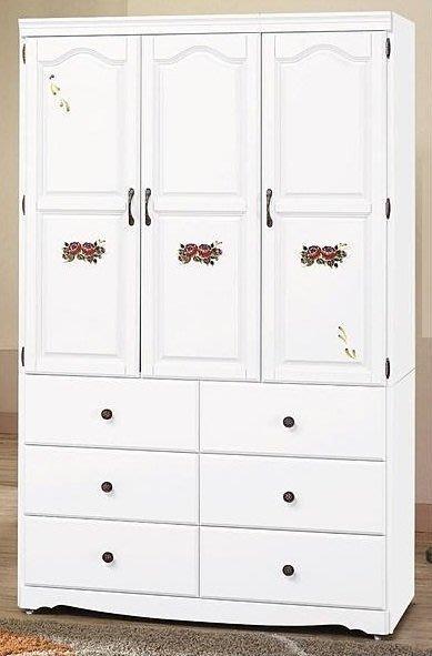 【DH】商品貨號CK-F324商品名稱《艾蜜》4X7尺歐風時尚實木白色衣櫃(圖一)備4X6尺3X7尺另計。主要地區免運費