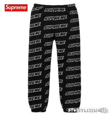 【超搶手】全新正品 2018 Supreme Repeat Sweatpant 滿版字體LOGO長褲 黑色 M