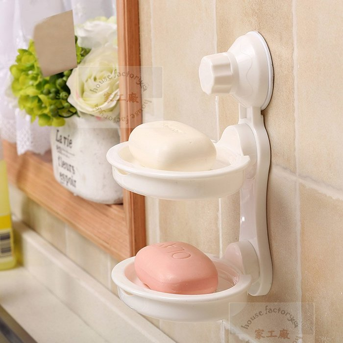 歡迎批發~強力吸盤雙層肥皂架 收納架鞋櫃衣櫃浴室架毛巾架香皂盒杯子馬克杯茶具保温瓶便當保鮮盒蓮蓬頭