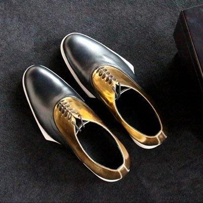 皮鞋 真皮休閒拼色繫帶鞋-紳士華麗金面時尚男鞋2色73kv30[獨家進口][米蘭精品]