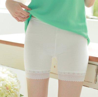 純色腰頭包邊加檔孔雀花邊女士安全裤莫代爾無痕三分裤防走光Y2-211、51801
