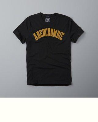 Maple麋鹿小舖 Abercrombie&Fitch*AF 黑色貼布字母短T*( 現貨XL號 )