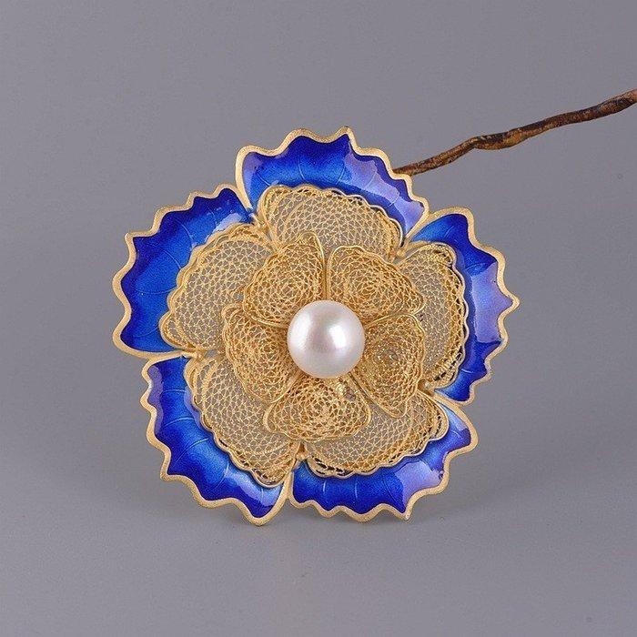 DIY材料 925純銀鍍金 景泰藍 珍珠 牡丹 花絲吊墜 項圈配件 配件 單個 銀飾 手繩配件 純銀O088