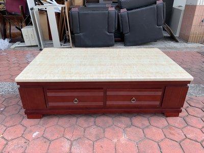 香榭二手家具*古典胡桃木 大理石5.3尺雙面大茶几-茶几桌-石面桌-矮桌-泡茶桌-和室桌-客廳桌-沙發桌-餐桌-抽屜桌