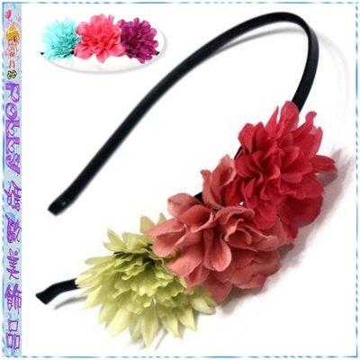 ☆POLLY媽☆歐美進口側排紫紅玫瑰紅草綠…3色花朵黑色包緞金屬細版髮箍~2款