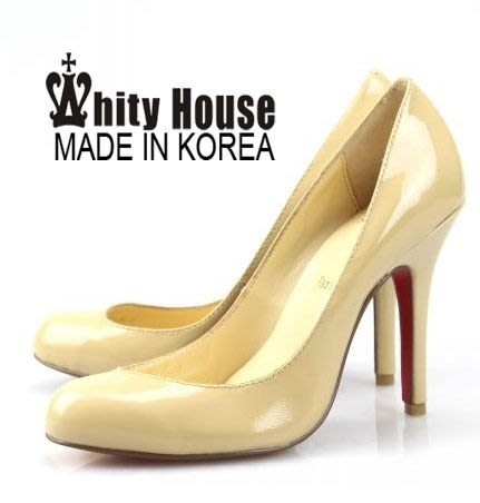 =WHITY=韓國高級LOWEEN代購‧內外全真皮羊皮 有大碼 義大利製 圓頭高跟鞋 裸杏LXG1897