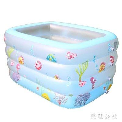 兒童保溫游泳池充氣嬰幼兒寶寶鍛煉室內充氣游泳桶加高加厚洗澡盆 st3886