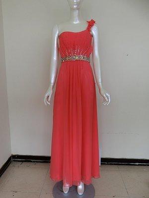 【女神殿】二手 晚禮服 Pink 粉色氣質鑽石雪紡抓摺長裙 雪紡 洋裝 特價低於1折