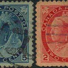 [亞瑟小舖]英屬加拿大百年古郵英維多利亞女王實寄票2枚,佳品!!!(1897年)