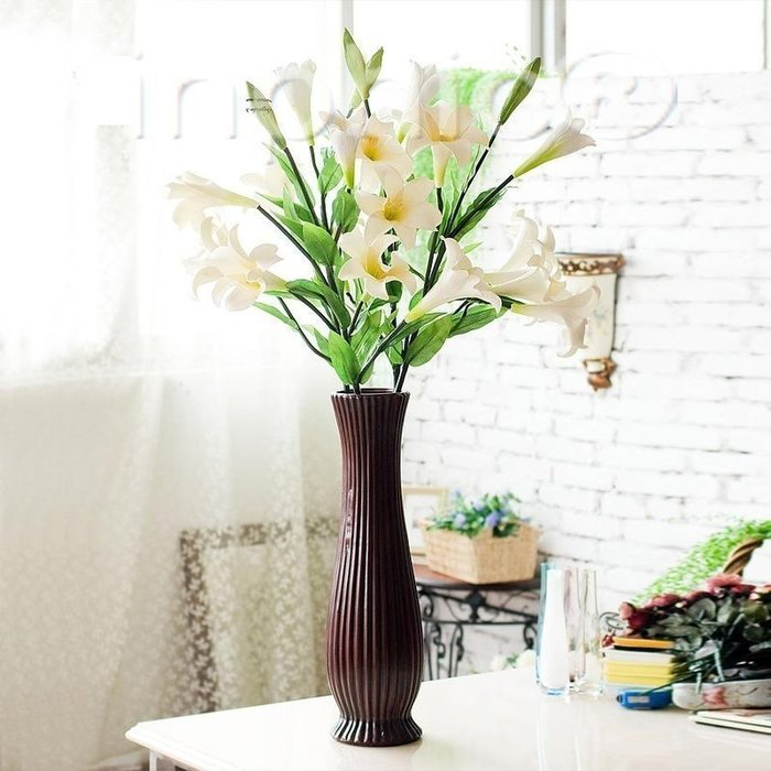 INPHIC-百年好合百合托斯卡納落地花器 仿真花套裝裝飾花藝