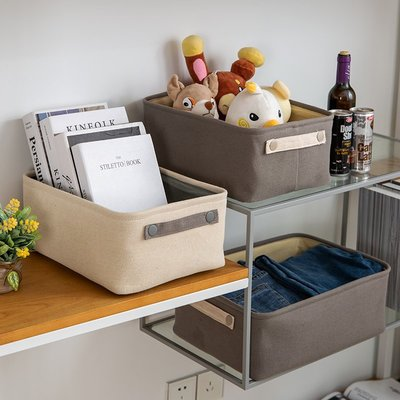 家居收納 收納籃帆布藝收納筐桌面雜物收納盒小籃子茶幾零食收納框玩具棉麻收納籃