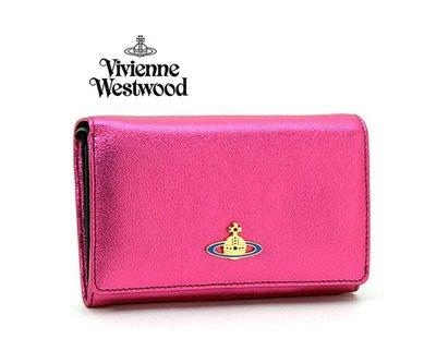 Vivienne Westwood (金屬桃紅色×黑色)  真皮兩摺中夾 皮夾 錢包|100%全新正品|特價!