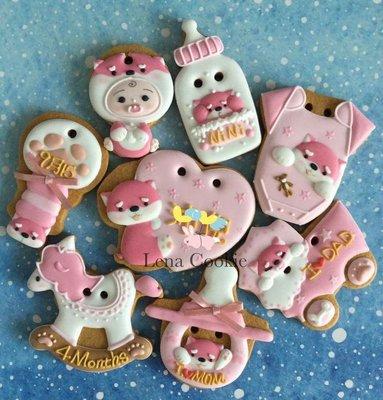 可接急單 收涎餅乾 狗寶貝系列 8片 女寶寶 粉色系 糖霜餅乾 生日禮物 手工餅乾 不挑款(Lena Cookie)