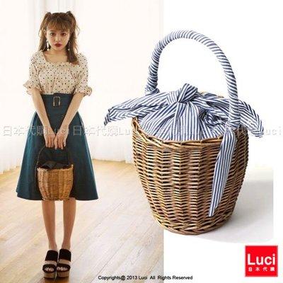 藤編手提包  水桶包 包布提把 草編包 異材拼接 氣質日雜款 LUCI日本代購  [ps799pz]