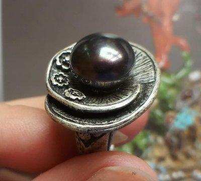 韓國設計~淡水孔雀綠黑珍珠~戒指~現貨【山玉軒】