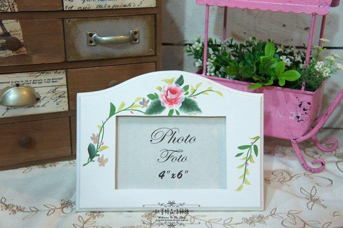 ~*歐室精品傢飾館*~ 鄉村風格~ 洗白 玫瑰 彩繪 4*6 相框~新品上市~