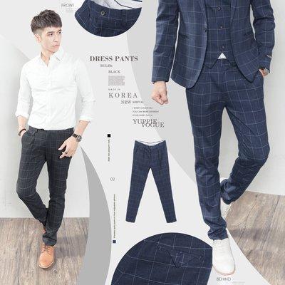 。SW。【K32132】正韓K.V 韓國製 修身顯瘦 質感西裝布 窄版 雅痞紳士 格紋 西裝褲 下標區 英倫 GD