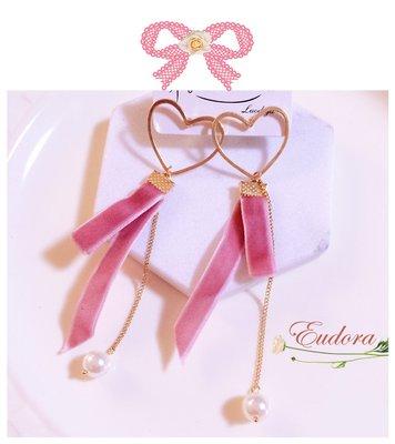 [韓國空運]現貨*愛心氣質緞帶造型珍珠耳環