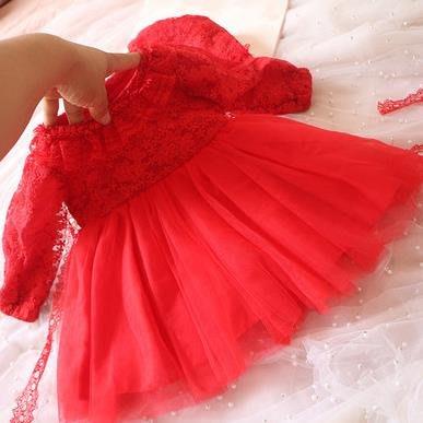 紫滕戀推出春秋夏寶寶連衣裙嬰兒滿月3百天寶寶禮服裙1周歲生日連衣裙公主裙毛球裙紅色