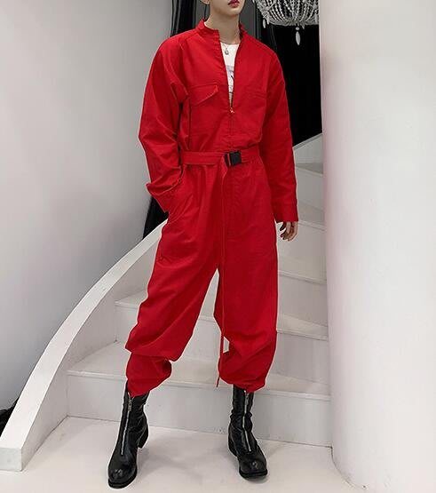 FINDSENSE品牌20109 新款 春季  韓國 暗黑國 純色 字母 印花 工裝連體褲  寬鬆 潮流 連體套裝 時尚