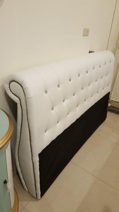 床頭片 白色造型拉釦床頭板~/5尺床頭片~