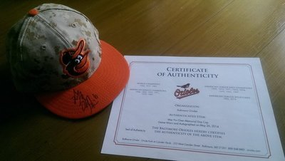 陳偉殷親筆簽名實戰球帽-美國職棒大聯盟與金鶯球團雙認證-可以交換實戰球衣