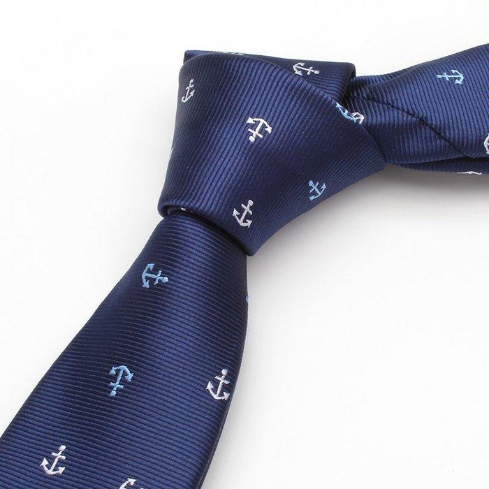 時尚領帶男韓版窄版5cm藏青色水手錨花紋小領帶禮盒裝潮