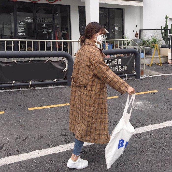 Copy&Paste【免運】韓國訂單.版型顯瘦修身歐美格子格紋中長款質感毛呢大衣翻領雙扣口袋西裝外套 M~XL 預購