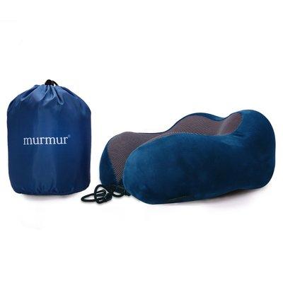 【murmur 舒壓絨毛旅行護頸枕  】時尚藍 旅行必備、正版授權、頸枕、記憶海綿、商務人士必備