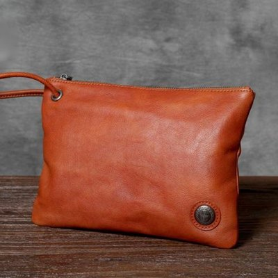 手拿包真皮錢包-純色植鞣牛皮復古男女包包3色73vp30[獨家進口][米蘭精品]