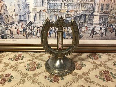 歐洲古物時尚雜貨 馬蹄 造型 溫度計 擺飾品 古董收藏