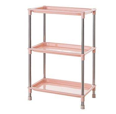 廚房多層塑料儲物架大號落地架子衛生間整理架收納架(主圖款-粉色四腳架)