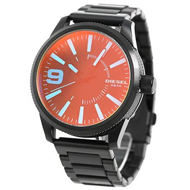 DIESEL DZ1844 手錶 47mm Rasp 偏光鏡面 亮藍色刻度 黑色鋼錶帶 男錶女錶