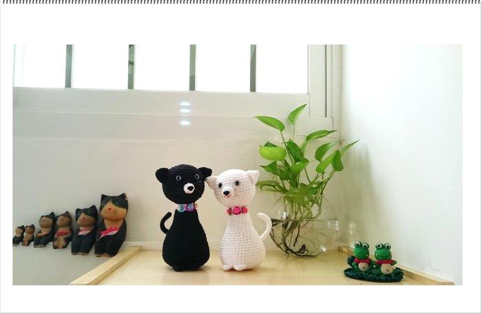 毛線手工編織娃娃~貓~擺飾~多色任選~進口毛線、棉線、紙線、麻繩、布條線~手工藝材料、編織書、工具<彩暄手工坊>
