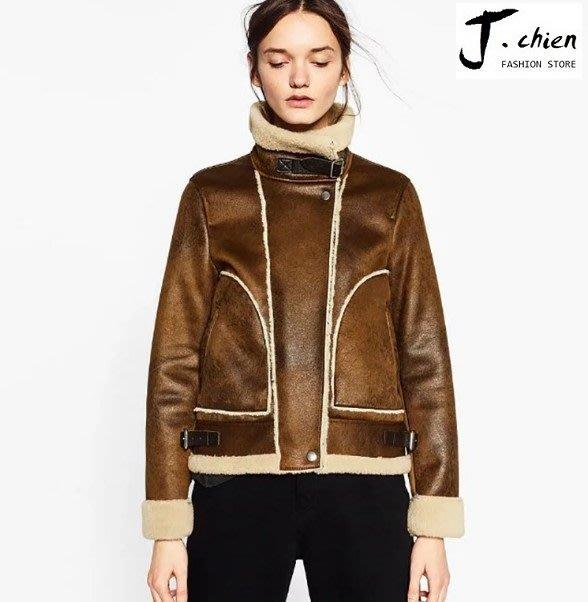 J.chien ~[全館免運] 韓版修身顯瘦鹿皮絨混紡外套 軍外套 外套 街頭風外套  騎士外套