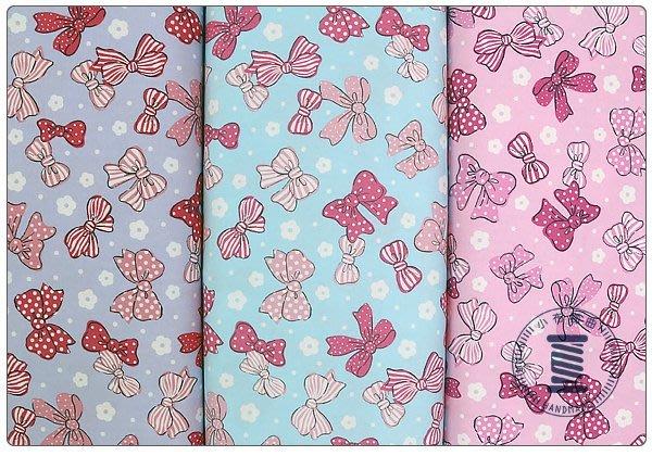 ✿小布物曲✿純棉 可愛蝴蝶結印花布 窄幅110CM 韓國進口布料質感優 共3色 單價