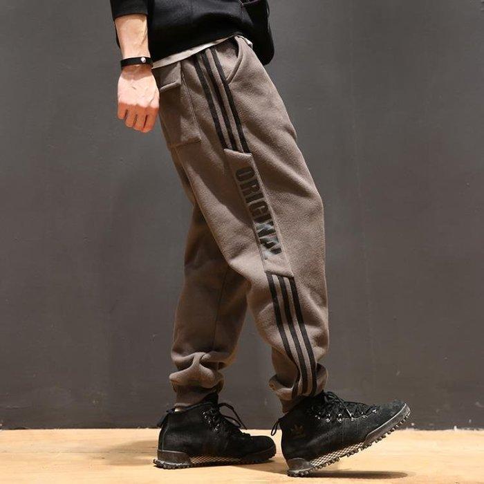 大尺碼束腳褲 馬切達冬季男士褲子日系加絨加厚寬鬆運動休閒褲 收口束腳褲 衛褲潮
