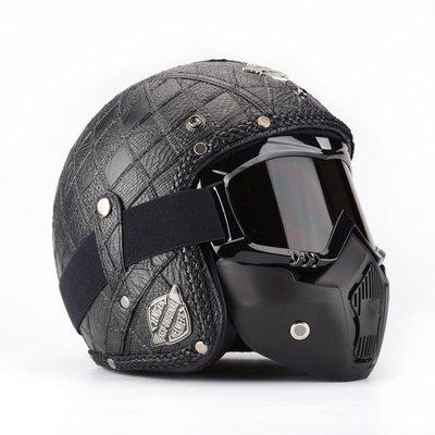 四季通用黑色個性電動機車頭盔半盔 哈雷復古太子摩托車3/4頭盔男 js2295