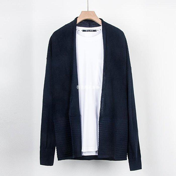 發發潮流服飾【一線品牌】中長款針織開衫男提花落肩秋季薄款潮流純色毛衣外套